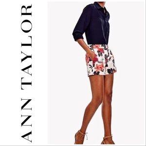Ann Taylor Devin Fit City Shorts Floral Flat Front